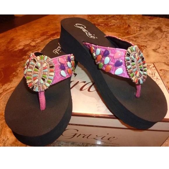 09ca8f330e49 Grazie Wedge Flip Flops Sandals